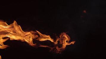 Flames burning on black background in slow motion. shot on Phantom Flex 4K at 1000 fps video