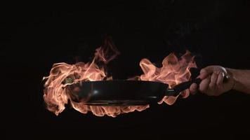 Flaming stir-fry in slow motion. shot on Phantom Flex 4K at 1000 fps video