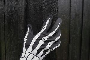 Black Glove With Detail Of Human Skeleton Ornament And Black Wooden Door. photo
