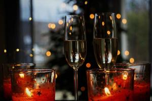 Detail Of Glass Of Champagne And Festive Background. photo