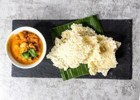 Crispy Rice cakes served with pork dipping, Kao Tung Na Tang Thai food photo