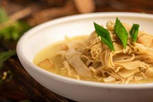 Traditional Chinese banquet dishes, stir fried dried bamboo shoots photo