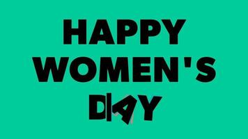 Happy Women's Day Lettering Green screen background. Animation Women day. Women day animated. Animation for Women's day, shop, discount, sale, decoration. Joy Style video