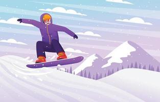 Winter Outdoor Snowboard Activity vector
