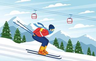 Winter Outdoor Skiing Activity vector