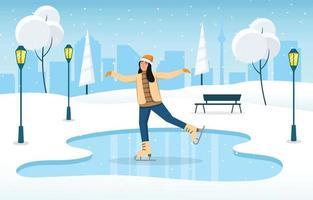 Winter Outdoor Ice Skating Activity vector