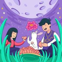 Enjoying Mooncake with Friends on Mid Autumn Festival vector