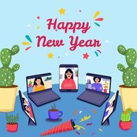 fondo de fiesta de celebración de año nuevo en línea vector