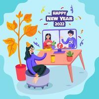 celebración virtual de la fiesta de fin de año vector