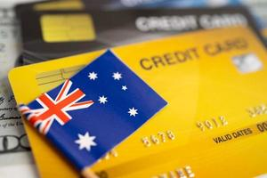 Australia flag on credit card. Finance development, Banking Account, Statistics, Investment Analytic research data economy, Stock exchange trading, Business company concept photo