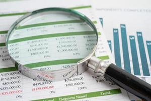 Magnifying glass on charts graphs paper. Financial development, Banking Account, Statistics, Investment Analytic research data economy, Stock exchange trading, Business office company meeting concept photo