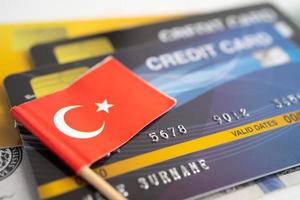 Turkey flag on credit card. Finance development, Banking Account, Statistics, Investment Analytic research data economy, Stock exchange trading, Business company concept photo