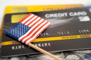 US America flag on credit card. Finance development, Banking Account, Statistics, Investment Analytic research data economy, Stock exchange trading, Business company concept photo