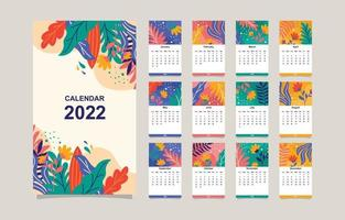 Colorful Floral 2022 Calendar Template vector