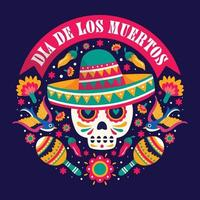 Dia De Los Muertos Colorful Doodle Element Illustration vector