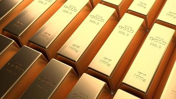 Closeup shiny gold bar arrangement in a row. Business Gold future and financial concept. 3D illustration rendering. World economics and currency exchange. Money trade and safe haven marketplace photo