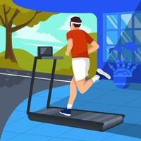Man Running with Virtual Reality vector