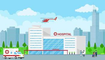Hospital building text space, cloudy sky and trees behind. vector