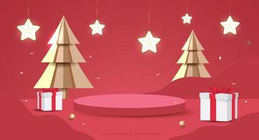 Merry Christmas and Happy New Year banner. Minimal mock up scene with studio podium to show product display. 3D vector tree xmas,  gift boxes and party elements