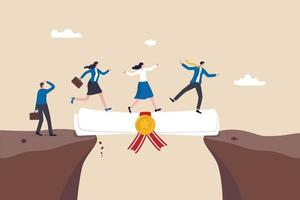 Education or business degree to help career growth, skill or knowledge for opportunity, training or diploma concept, businessman and woman walk on education degree scroll as bridge to cross the gap. vector