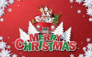 Origami Paper art of Santa Claus and Christmas red car with text MERRY CHRISTMAS on red background vector