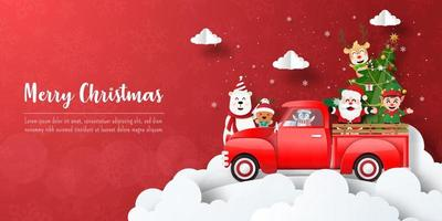 Merry Christmas and Happy New Year, Christmas banner postcard of Santa Claus and friends with red car vector