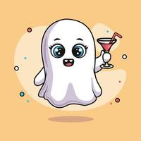 cute ghost character holding martini glass for halloween vector