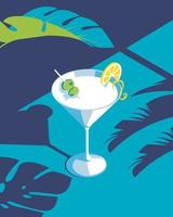 martini drink illustration for summer with leaf vector