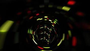 vuelo al túnel futurista digital rojo verde oscuro video