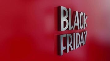 Texte chromé 3D de l'effet d'animation du vendredi noir sur fond rouge. video