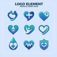 Blue Heart Medical Logo Element vector