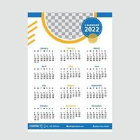 Calendar 2022 template with blue color vector