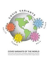 Vector illustration of major COVID variants of the world concept
