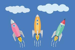 Space race concept, Three colorful cartoon rockets in the space vector