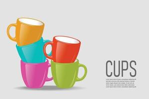 Vector illustration of colorful cups