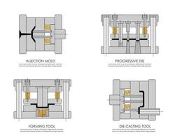 Illustration of Injection molding , Diecasting, press, forming tool. vector