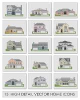 Vector illustration of different home icon set