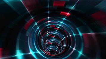 movimiento de líneas de vuelo y efecto de luz azul roja iluminada en el túnel. video