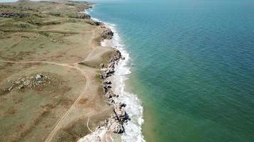 Aerial view of general's beaches and seascape, Autumn in Crimea video