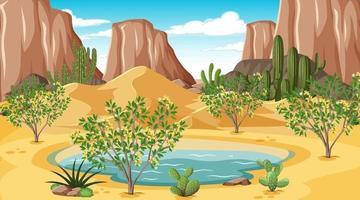 paisaje de bosque desértico en la escena diurna con oasis vector