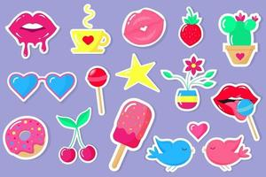 Trendy color patches, stickers and pins in style of 90s. vector