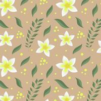 seamless pattern with tropic flowers, branch and leaves. vector