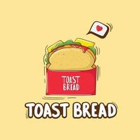 Colorful Hand Drawn Toast Bread Illustration vector