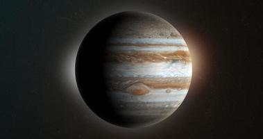 Jupiter planet rotating in its own orbit in the outer space video