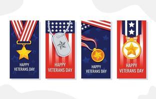 saludos de celebración del día de los veteranos para redes sociales vector