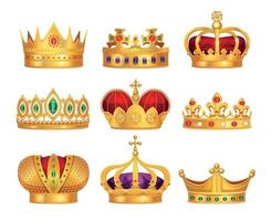 Royal Crowns Set vector