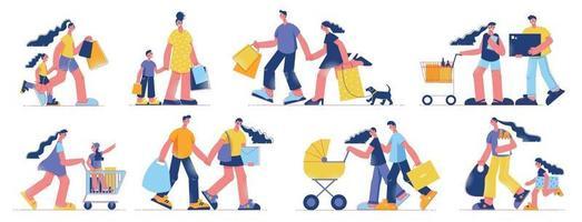 Family Shopping Flat Set vector