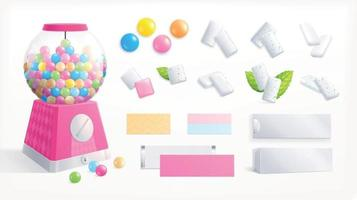 Bubble Gum Isolated Set vector