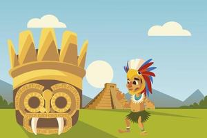 aztec culture warrior mask and pyramid in landscape vector