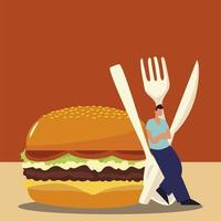 man with cutlery and fast food burger design vector